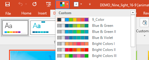 PowerPoint: How to change a color scheme of the presentation to a different  preinstalled color scheme
