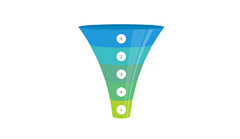 Funnel clipart PPT 5 step