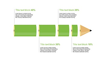 4 Steps green Pencil for PowerPoint