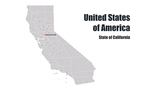 Counties map of California template