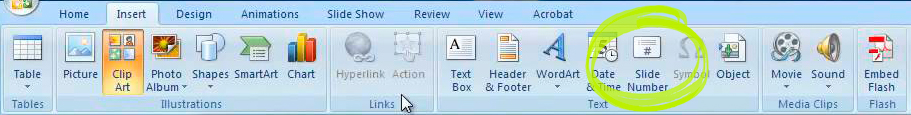 Powerpoint 2007 add page numbers