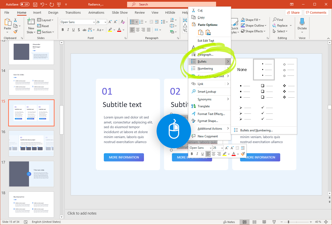 Figure 3: Using right-clicks to change the settings for the PowerPoint list items.