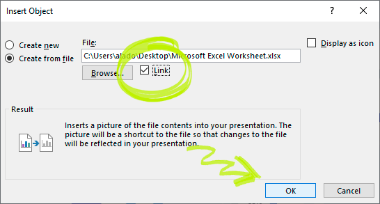 Insert object in PowerPoint