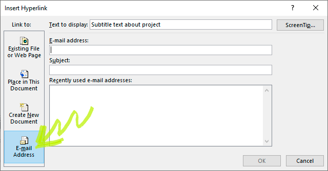 Figure 3: Creating a Hyperlink that lets people send you an email.