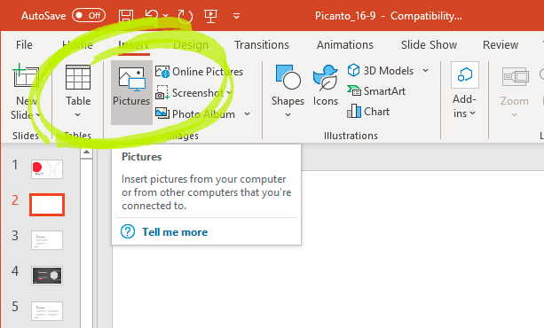 Inserting an image into PowerPoint using the internet.