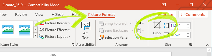 Clicking on the Crop icon in the Format tab.