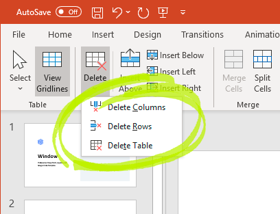 Delete columns rows table in PowerPoint