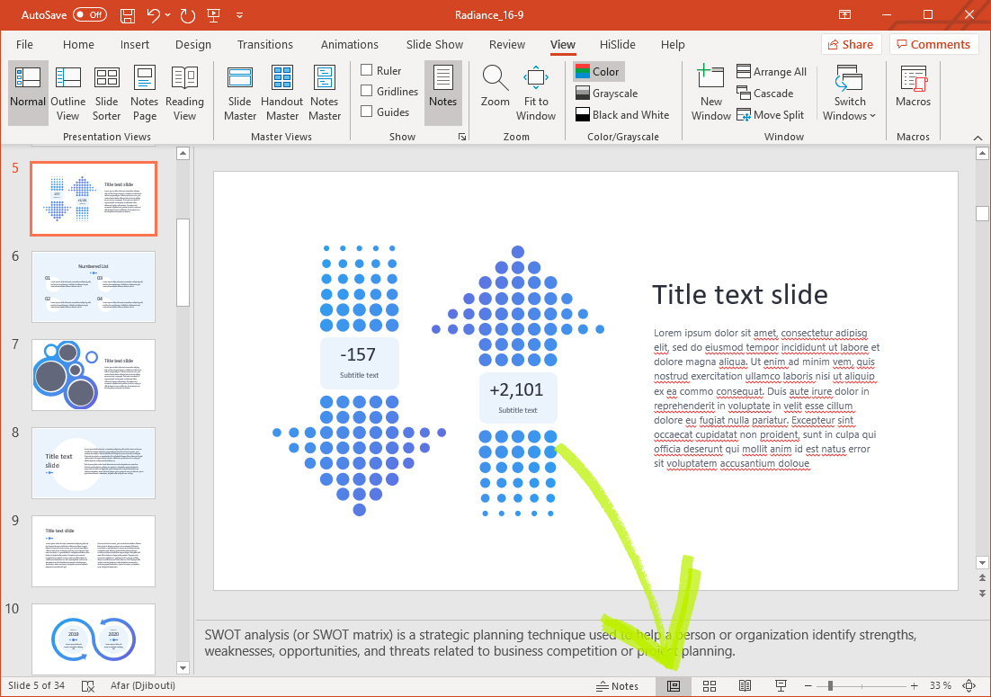 Figure 3: This icon will return you to a Normal view when you are finished editing your notes.