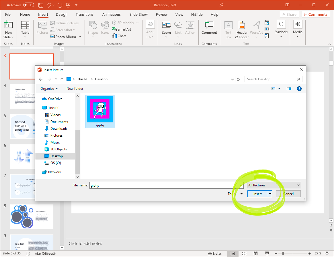 Add a gif to PowerPoint