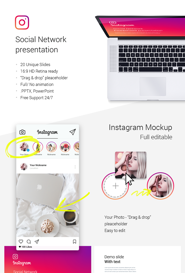 Instagram analysis PowerPoint template