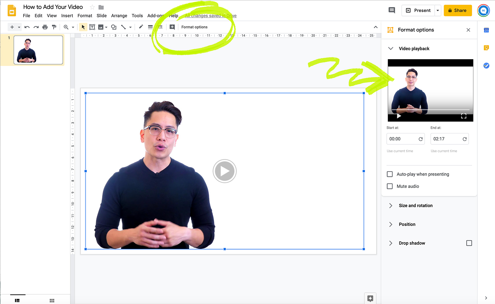 Video options in Google Slides