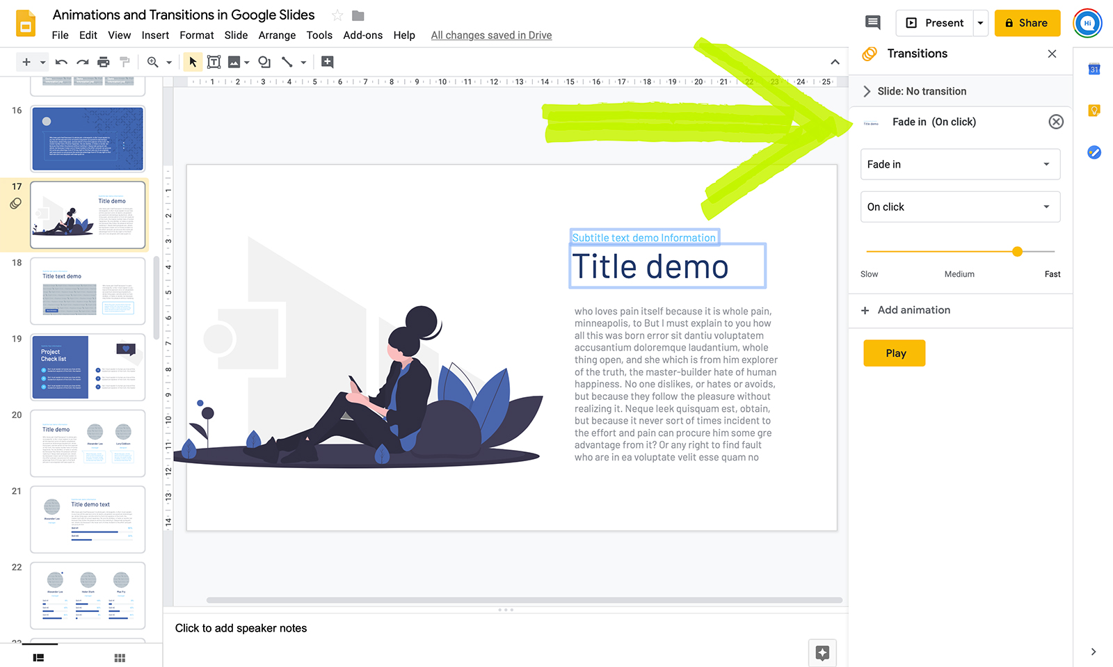 How to do animation in Google Slides