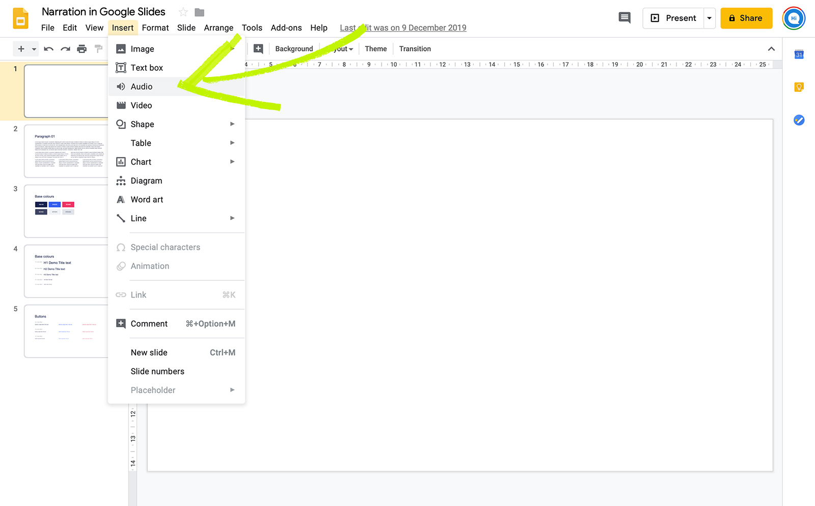 Insert Audio to Google slides