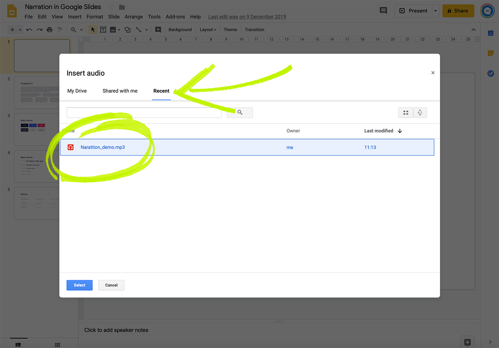Select audio file in Google drive
