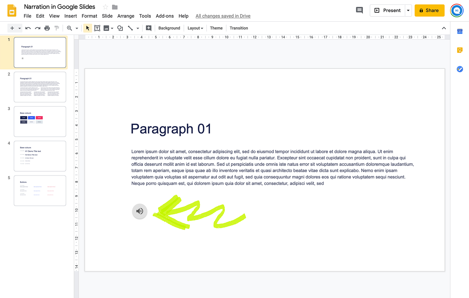 Add narration to Google slides