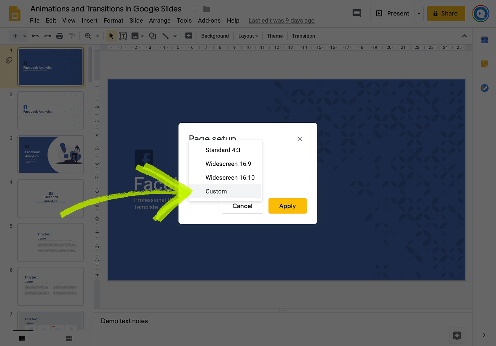 Make Google slides vertical