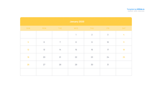 January 2020 Google slide calendar template