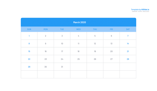 March 2020 Calendar template PowerPoint