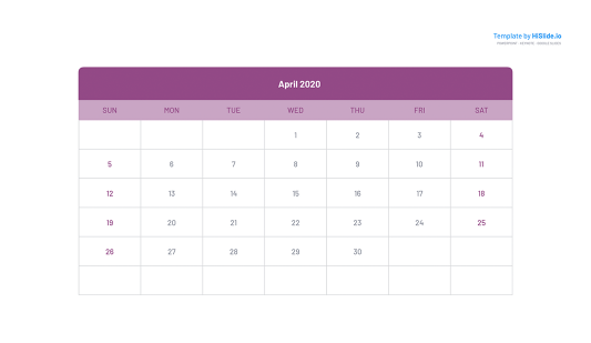 April 2020 Calendar templates Powerpoint