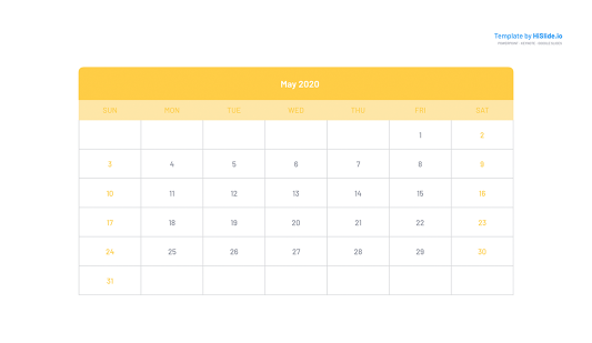 May 2020 Calendar template on Keynote free