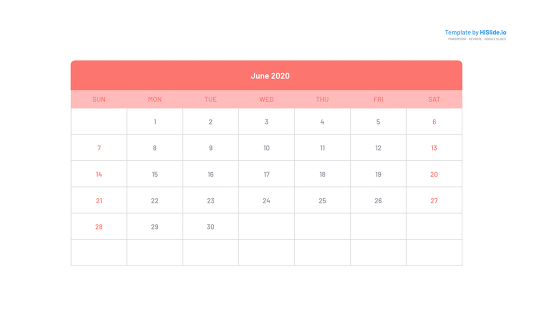 June 2020 Calendar in Google slides