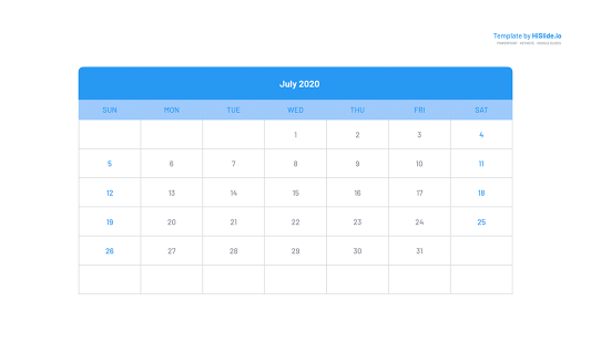 July 2020 insert Calendar in Google slides