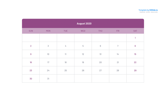 August 2020 Calendar in Powerpoint