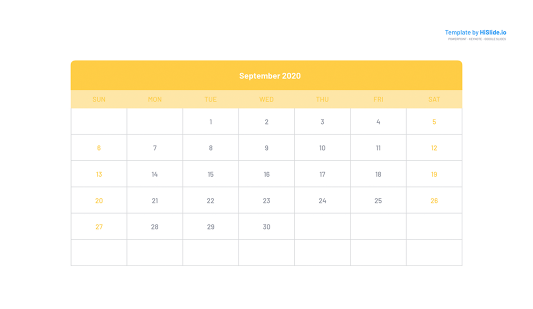 September 2020 Calendar for Powerpoint