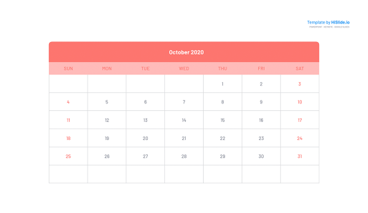 October 2020 Calendar on Powerpoint