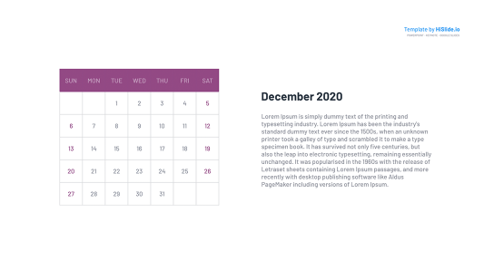 December 2020 put a Calendar on a Google slide