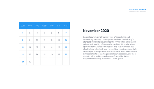 November 2020 insert Calendar in Powerpoint