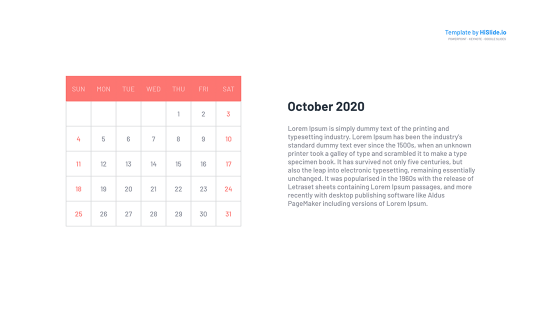 October 2020 Calendar for Powerpoint slide