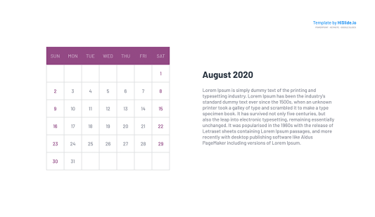 August 2020 Calendar slide Powerpoint