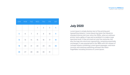 July 2020 Calendar Graph for Google slides