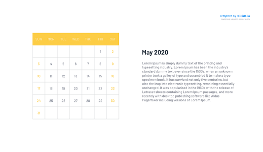 May 2020 Google slides Monthly Calendar template