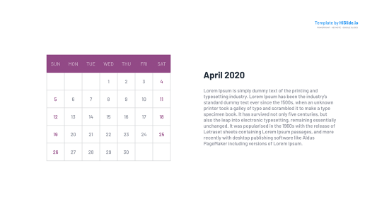 April 2020 Calendar Graphic for Powerpoint
