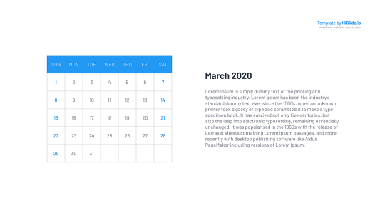 March 2020 Google Calendar in Google slide