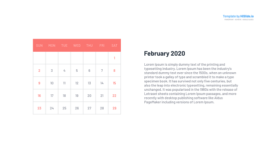 February 2020 Free Powerpoint Calendar template