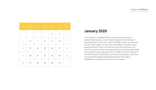 January 2020 Calendar template for Keynote