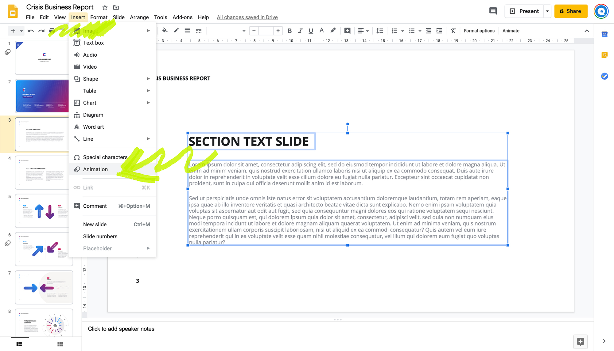 Adding Animations in Google Slides