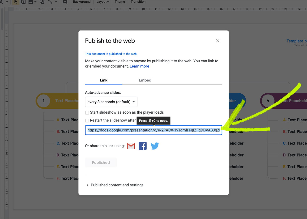 Publish Google Slides in website
