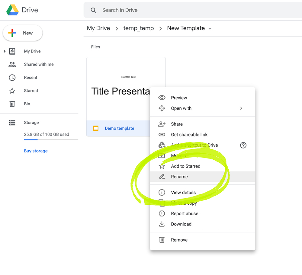 Rename in Google slides
