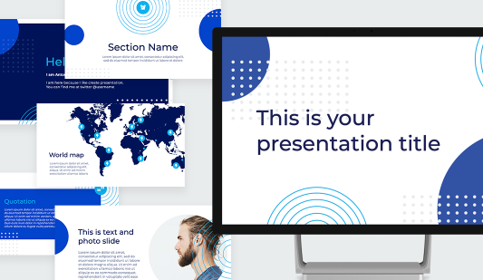 Blue Circle Google slides template