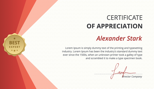 Modern Red Certificate PowerPoint Template