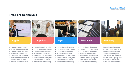 Five porters forces analysis Powerpoint template free