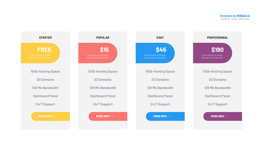 4 Columns Pricing Tables Keynote Template