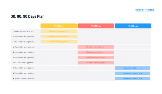 30 60 90 Day Plan Table Slide Keynote