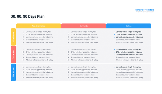 30 60 90 Day Planning Table Keynote Template