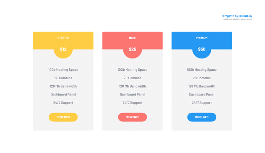 Pricing tables Google slides template