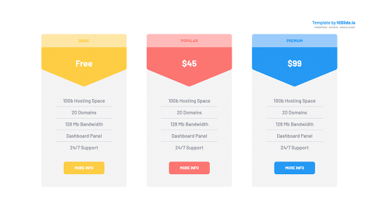 Google slides Pricing tables template